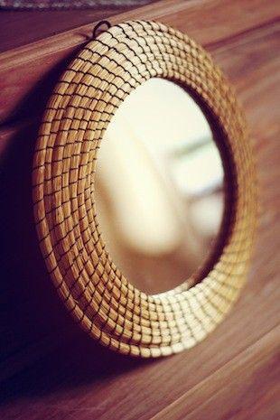 Miroir capim dourado or v g tal du br sil miroir or et for Artisanat pernambouc bresil