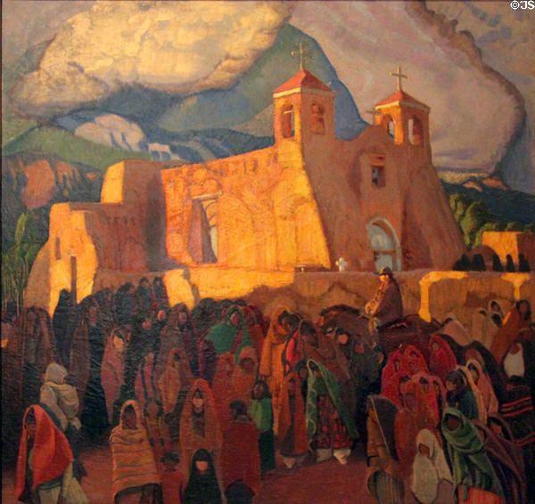 Church at Ranchos painting (1921-9) by Ernest L. Blumenschein at Blumenschein Home & Museum. Taos, NM.