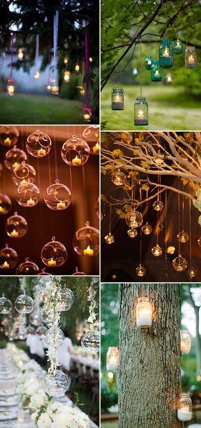 Land rustikalen hängen Kerzen Deko-Ideen für Outdoor-Hochzeiten