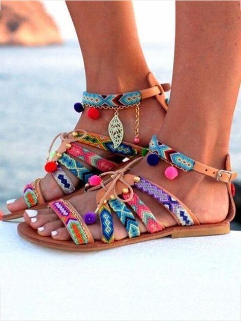1ae53cb0fe2 Bohemia Floral Pompoms   Leaf Decorated Beach Flat Sandals – oshoplive