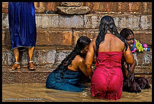 Women Bathing In Ganga River