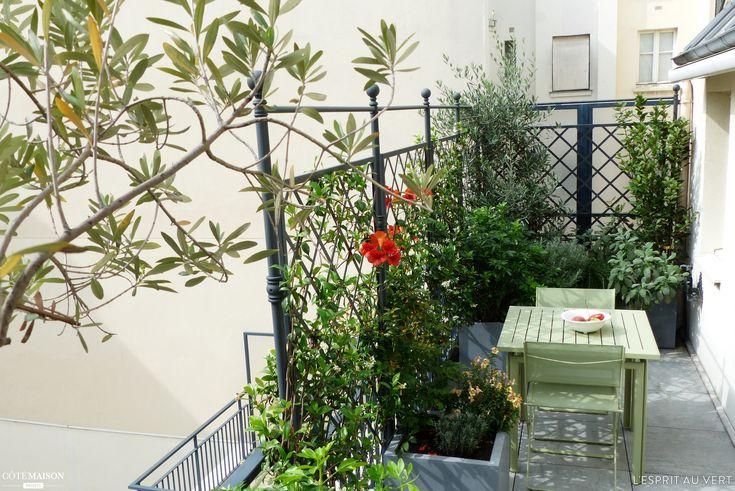 une petite terrasse en ville l 39 abri des voisins avec une table de repas terrasses. Black Bedroom Furniture Sets. Home Design Ideas