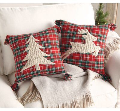 These tree and reindeer throw pillows are so cute! Love the cable knit detail and compared to most throw pillows these are really inexpensive too...Aff