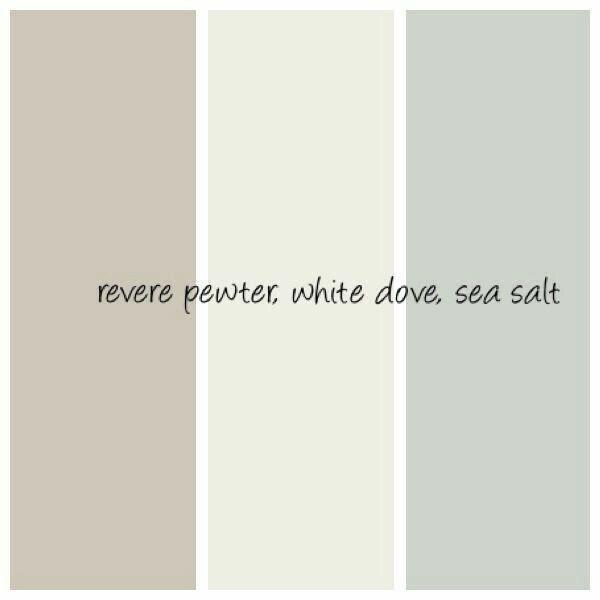 Revere pewter, white dove, sea salt