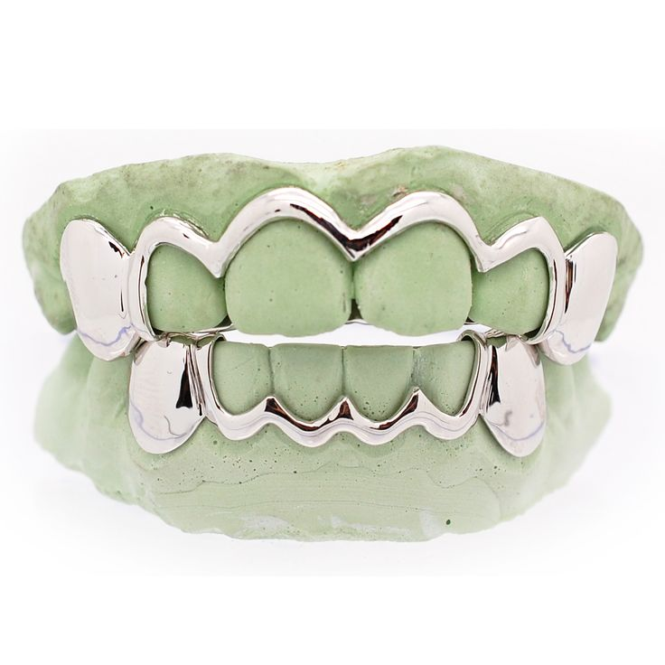 White Gold Grillz Outline Open Face Style Grillz