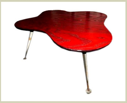 A 1960u0027s Era Abstract Shaped Rotary Cut Oak Plywood Coffee Table With Four  Aluminum Legs. The Top Is Stained A Warm Red ...