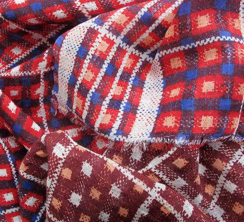 The Square Check Scarf in red is an update on last summer's Madras scarf... click for more information