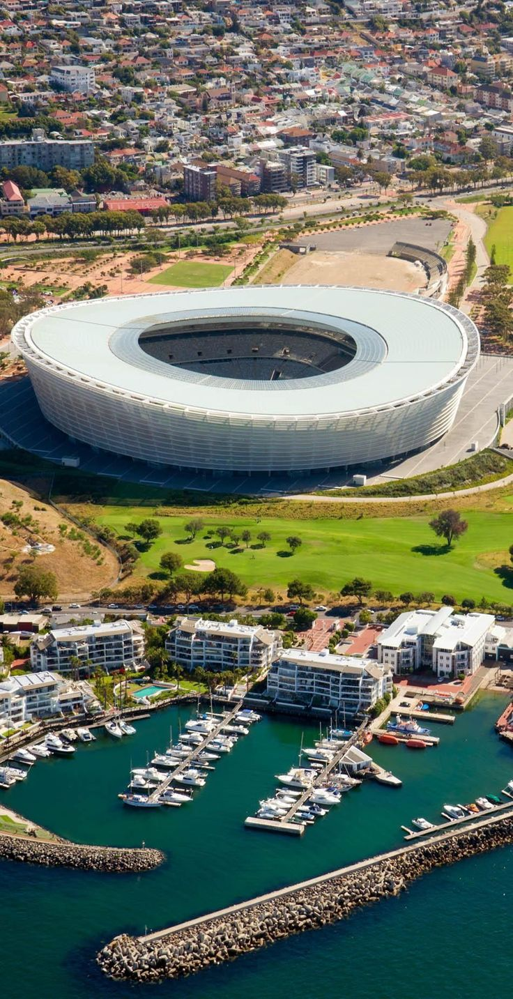 The cape Town Stadion near Indian Ocean in Cape Town, South Africa   Discover why Millions of Tourists visit South Africa
