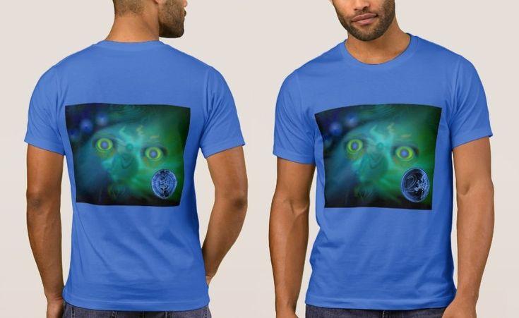 Men's Royal Blue T-Shirt with Digital Art Image 'Moon Freak' plus Small Blue Coin