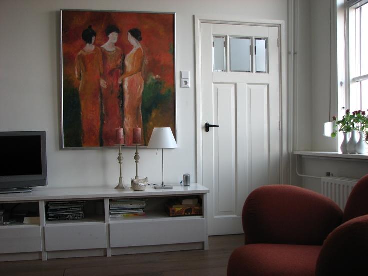 Woonkamer, nieuwe deuren en alles gestuct  tv meubel van Lundia    Our home    Ons Huis