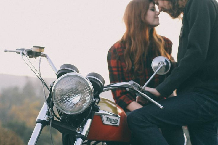 Woodland Motorcycle Engagement Shoot: Kate & Brandon