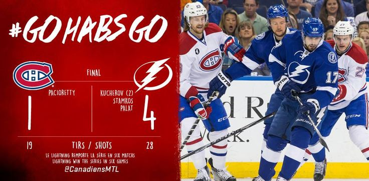 Match#6 Domination complète du Lightning devant leur partisans,le Canadien incapable de produire des buts.Le Canadien est éliminé en 6 parties.