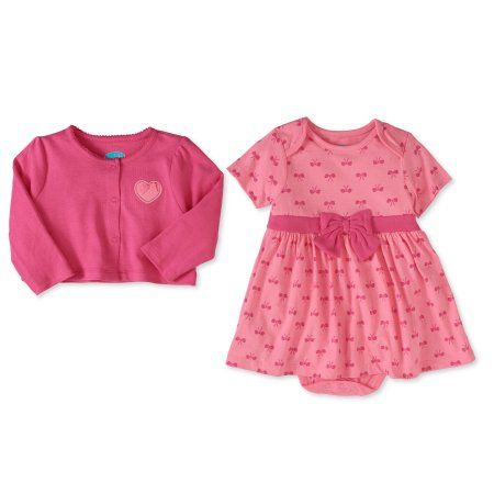 Bon Bebe Newborn Baby Girl Cardigan & Dress 2pc Outfit Set, Size: 18M, Orange