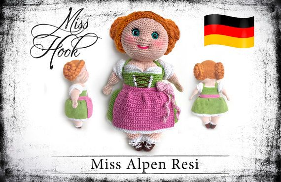 "crochet doll pattern ""Miss Alpen Resi"" eBook PDF (german language)"