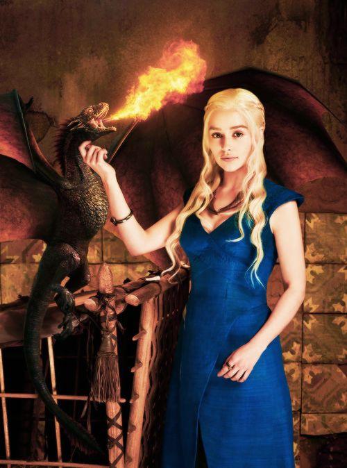 Daenerys (Emlia Clarke) and one of her baby dragons.