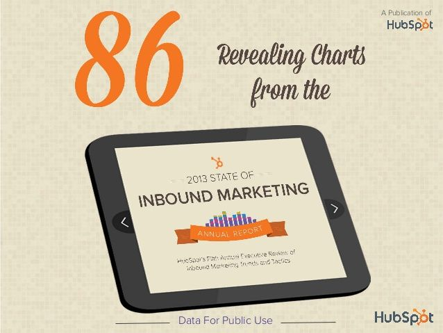 Every year since 2008, HubSpot has conducted great research to find out how people are using inbound marketing.  Here is their 2013 Inbound Marketing Report highlights in slide format (PDF).  HubSpot offers all the information and charts here for public use.   Great work HubSpot!  Thank you!