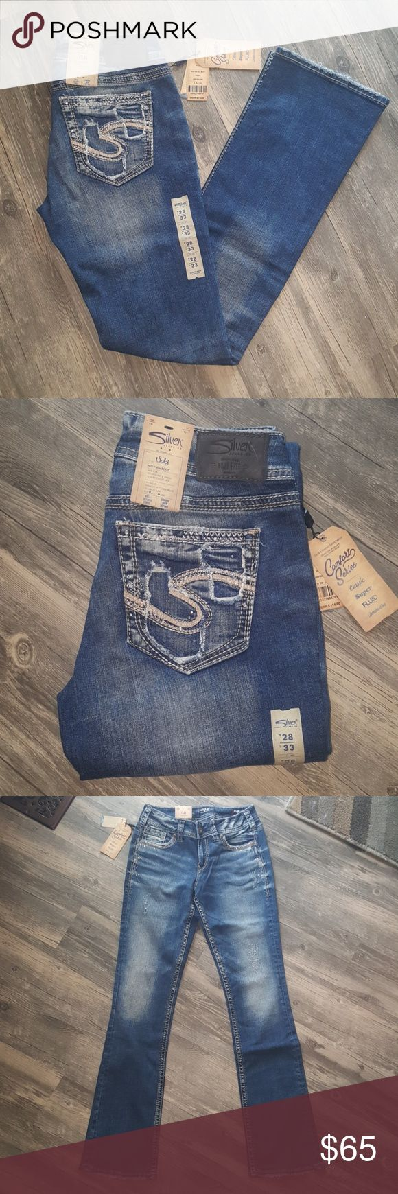 Silver Jeans Suki Mid Slim Bootcut ● 28W/33L ● Color: Indigo  ● Mid Rise Super Stretch ● Relaxed Hip & Thigh, Well Defined       Curve ● Slim Bootcut Leg ● Embellished Front & Back Pockets   Super cute embellishments on front & back pockets! Silver Jeans Jeans Boot Cut