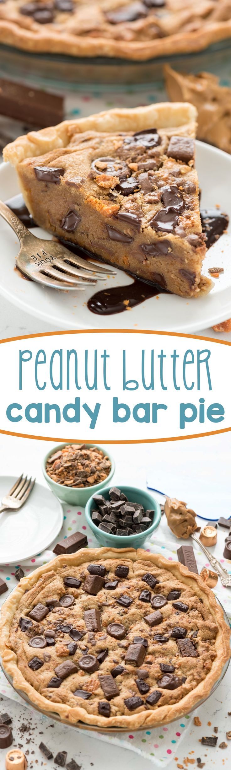 Peanut Butter Candy Bar Pie - this easy peanut butter cookie pie recipe is filled with candy bars! It's a giant cookie with a crust - heaven!: