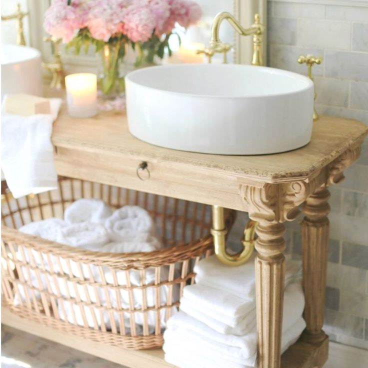 Eloquence vanity in bathroom by French Country Cottage. Swedish decor inspiration, French and Gustavian Design Style from Eloquence. #swedish #interiordesign #frenchcountry #gustavian #nordic #decoratingideas #whitedecor #eloquence #furniture