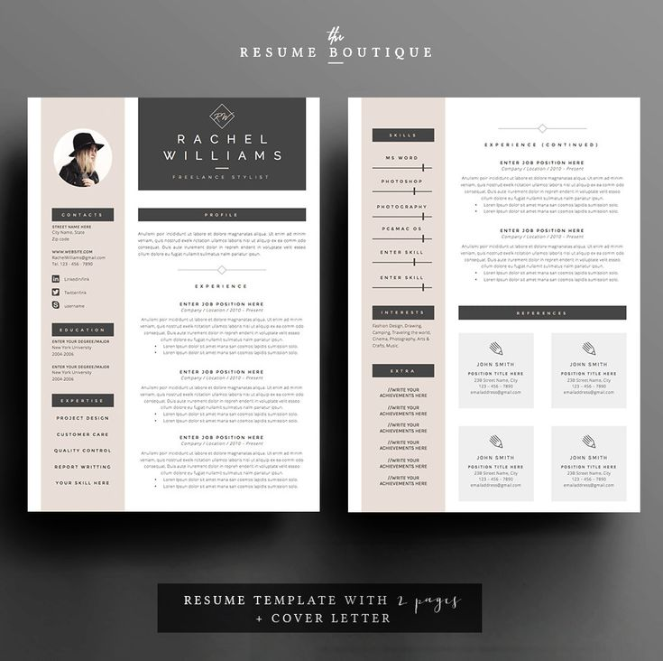 4 page resume cv template cover letter for ms word instant digital download the sultry - Template Cover Letter For Resume