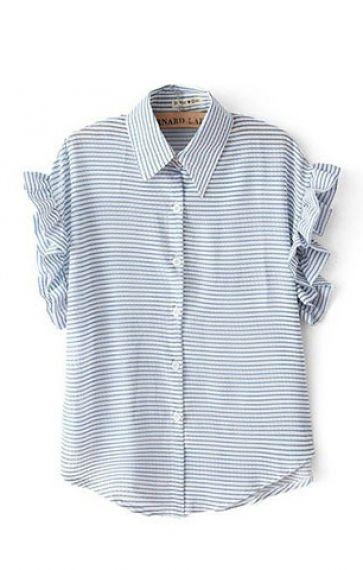 Mandarin Sleeves Lapel Blue White Stripes Print Blouse