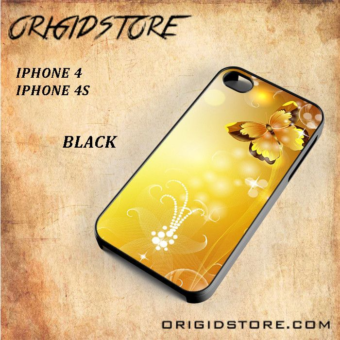 Gold Butterfly Animal Al Snap On Black White 3D For Iphone 4/4S case