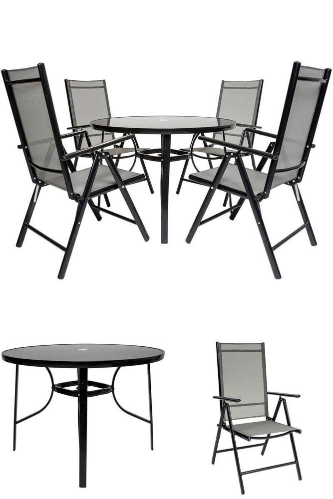4 Seater Patio Dining Set Black Metal Round Table Chairs Garden