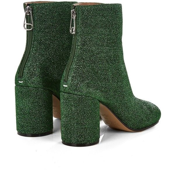 Maison Margiela Lurex block-heel ankle boots ($611) ❤ liked on Polyvore featuring shoes, boots, ankle booties, metallic bootie, metallic ankle boots, maison margiela, ankle bootie boots and high heel platform booties