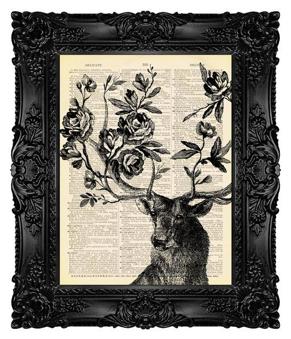 Deer Print Deer gift Deer wall decor Deer painting Deer antler decor, Geek, Cool, Dictionary Art Print, Book Art Print - Spring is Here 15 on Etsy, $10.00