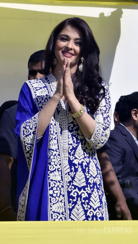 Aishwarya Rai Bachchan at the inauguration of a jewellery showroom in Amritsar.