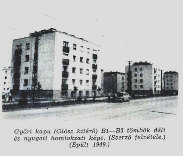 Győri kapu Glósz kitérő B1 és B3 tömb fotó: ifj. Horváth Béla forrás: Borsodi Műszaki Élet 1957 okt.