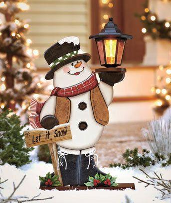 Solar Lighted Holiday Snowman with Lantern Yard Decor | eBay
