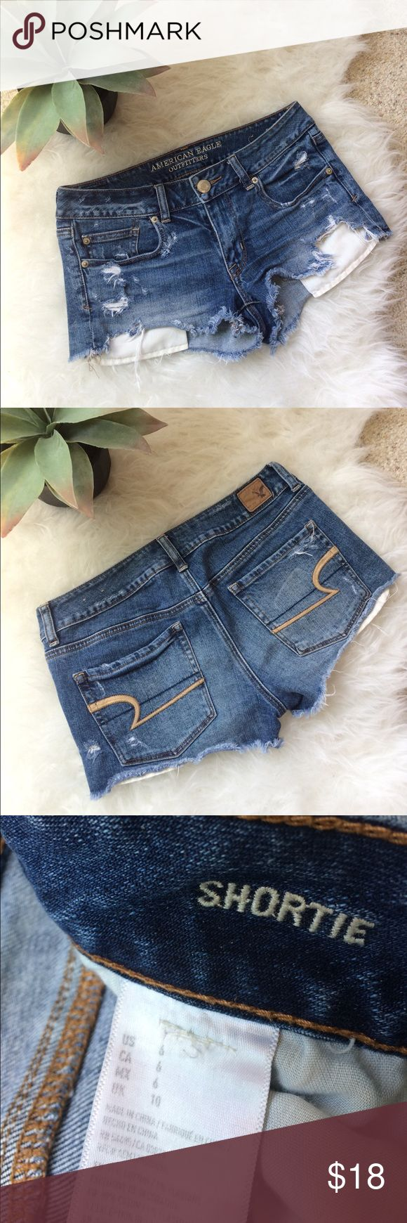 Price Drop! American Eagle Jean Shorts Mid-low rise jean shorts. Used but in great condition! Size 6, but runs a little small. American Eagle Outfitters Jeans