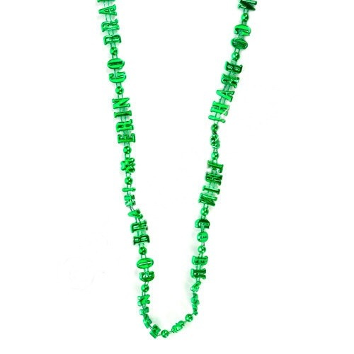 Private Island Party  - St Patricks Irish Erin Go Braugh Necklace 6559, $1.05 - $2.99    Show your allegiance to Ireland with the Erin Go Braugh necklace from our fun selection of St. Patricks Day beads and neck-wear. Shamrock beads and the historical Erin Go Braugh lettering make this necklace perfect for real Irish descendants and weekend party goers alike.    Wear these colorful St. Patricks Day beads by themselves, or with one of our great Erin Go Bragh Irish tam hats.