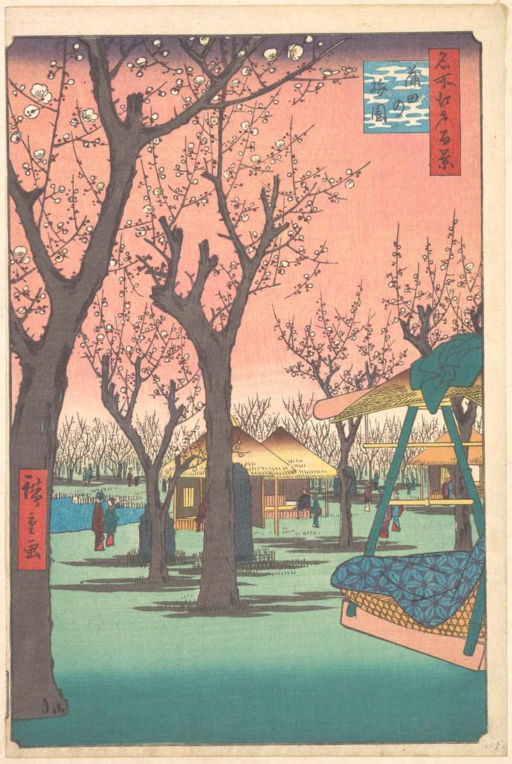 "Utagawa Hiroshige (1797-1858), Kamata no umezono (蒲田の梅園), 1857. From the serie ""One Hundred Famous Views od Edo"" (Meisho Edo hyakkei, 名所江戸百景), 1856-1859. Signed Hiroshige ga (広重画). Nishiki-e ōban tate-e), cm. 34,5 x 22,6. Publisher: Uoya Eikichi. New York, The Metropolitan Museum. An example of this famous print will be soon on auction at Florence Number Nine."