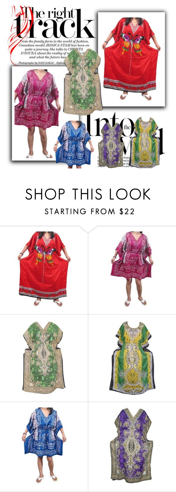 """Bohemian Caftan Moroccan Dress"" by era-chandok ❤ liked on Polyvore featuring Anja"
