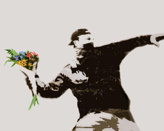 Banksy Flower Thrower Anarchy Street Art by StreetArtonCanvas, $18.99