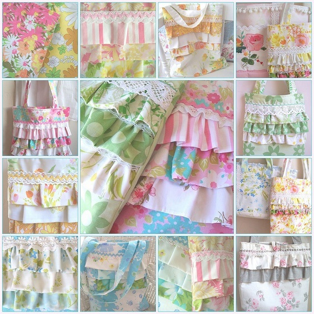 ruffle tote bags made from vintage sheets/linens