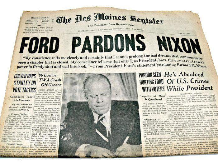 """Vintage Newspaper """"Ford Pardons Nixon,"""" Des Moines"""