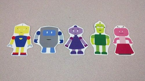 Five Noisy Robots - not only are these cute, but they will work PERFECTLY with SRC 2014 Fizz, Boom, Read!