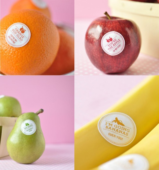 these are the BEST kind of fruit/veggie stickers ~ diy with your own special message :}