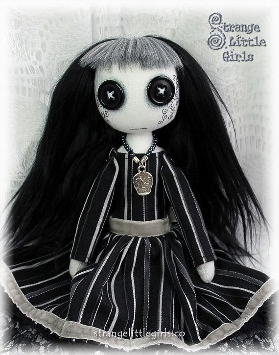 Button-eyed Gothic cloth art doll in Black by StrangeLittleGirlsUK