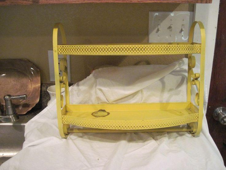 vtg yellow 50u0027s metal shelf mid century shelves bathroom u0026 kitchen towel