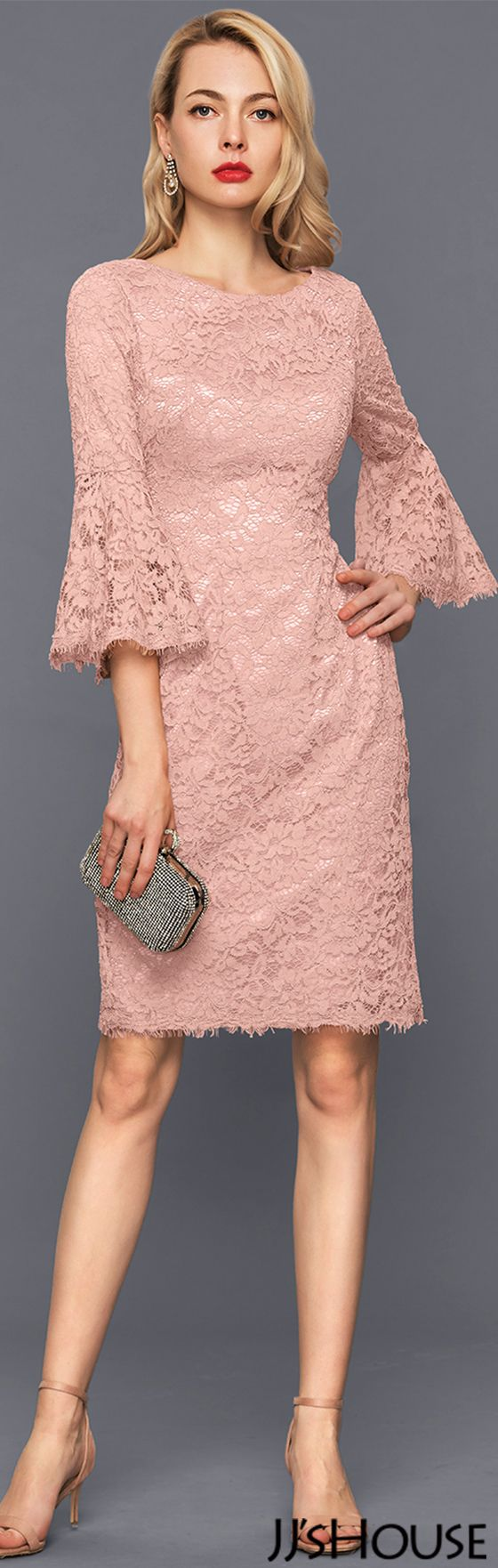 Sheath/Column Scoop Neck Knee-Length Lace Cocktail Dress#JJsHouse #Cocktail dresses