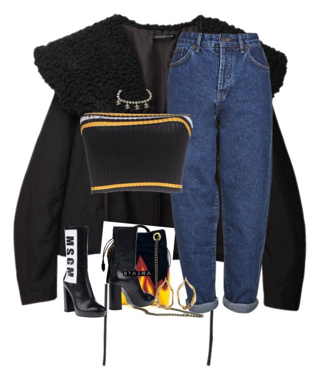 """""""Untitled #317"""" by nyashaa ❤ liked on Polyvore featuring Yohji Yamamoto, Burberry, Boutique, MSGM, Tom Ford and Prada"""