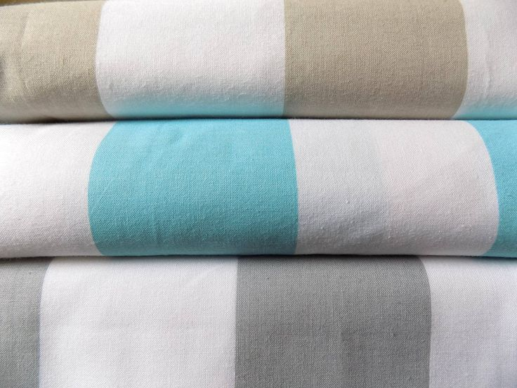 Cotton Fabric -Striped fabric - Turquoise&White Grey-White Beige-White Curtain fabric -Stripe fabric   by the Fat Quarter Half Metre Metre