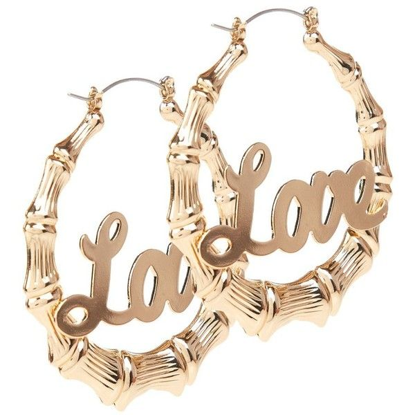 Gold Love Hoop Earrings Found On Polyvore Jewelry In 2018 Pinterest And