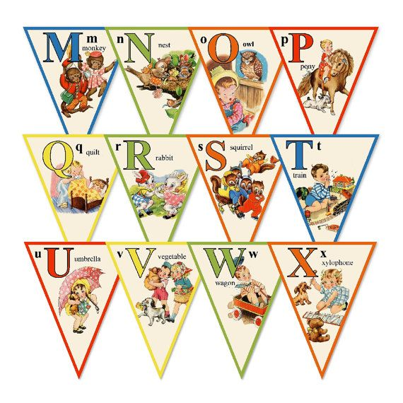 Alphabet Story Book Banner by hedgehogstudio on Etsy