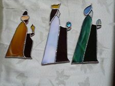 THREE KINGS CHRISTMAS STAINED GLASS SUNCATCHERS / ORNAMENTS
