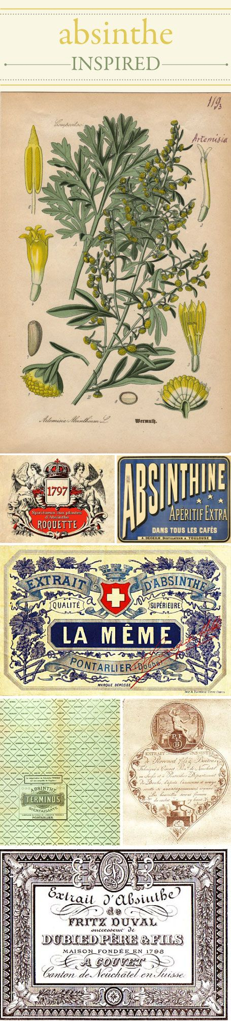 Vintage Absinthe labels  http://www.wileyvalentine.com/blog/2010/08/25/absinthe-inspired-the-green-fairy/#Green Fairies, Absinthe Poster, Absinthe Labels, Absinthe Inspiration, Design Hoodie, Label Design, Vintage Absinthe, L Absinthe, Labels Design